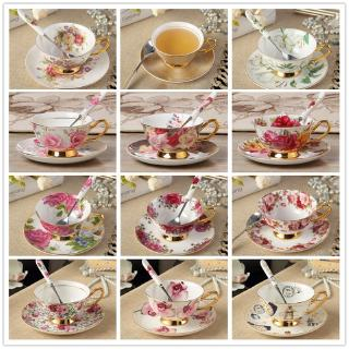 European Luxurious Bone China Coffee Cup and Saucer Set Household Ceramic Flower Tea Cup