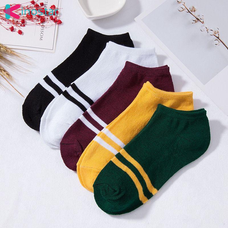 Women Stripe Comfortable Cotton Sock Slippers Short Ankle Socks