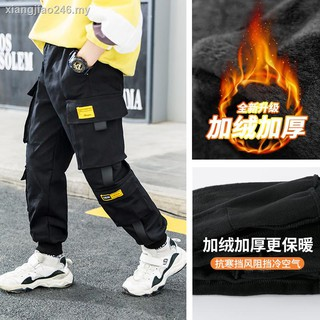 dressChildren's clothing boy plus sweat pants child qiu dong han edition overalls cuhk new version of its 2019 children