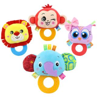 Baby Rattle Hand Bell Toys Plush Owl Elephant Monkey Lion Rattle Dolls Gifts for Infants