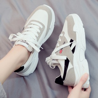 2019 spring new sports shoes women's Korean version of ulzzang hundred students canvas daddy fall