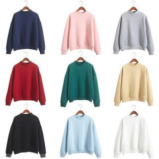 M-2XL 10 Colors Round Neck Loose Large Size Solid Color Sweater with Gifts