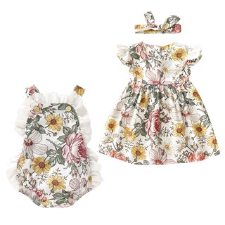 Newborn Toddler Baby Girls Matching Clothes Big Little Sister Floral Dress Romper Skirt Sunsuits Outfits
