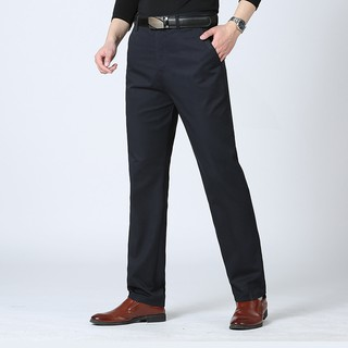 2019 men's casual pants middle-aged straight high waist pants men's thin business casual trousers