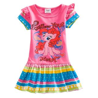 Girls dresses cartoon my little pony print ruffled pleated dress cotton summer 24 months-7 years old rose red