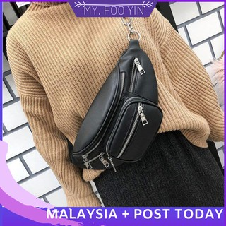 Ready Stock Waist bag woman handbag men beg wallet waist bag leather W9