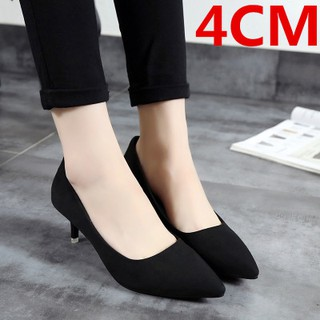 Women pointed high heels shallow mouth nude shoes