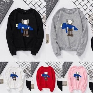 Mengze.KAWS Sesame Street joint name autumn and winter couple Long sleeve fleece hoodies women's girl shirt blouse