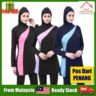 Baju Renang Muslimah Women Swimwear Swimsuit Hijab Full Cover Ladies Plus Size Swimming Suit Burkini Badpak sport