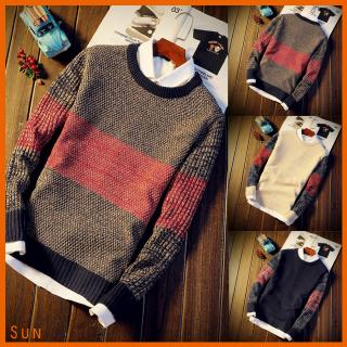 Men Thin Long Sleeve Round Collar Pullover Casual Knitted Sweater