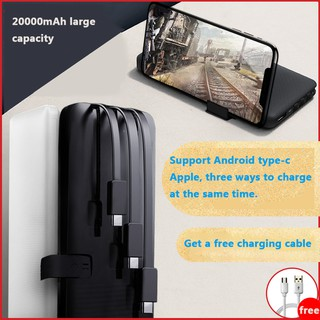 Portable 20000Mah PowerBank 2A Fast Charge Mini Power Bank Portable Charger 3 In 1 fast Charging Cable for Xiaomi Mi