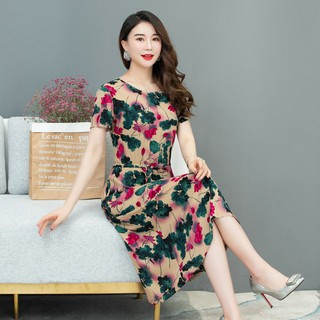 ﹍Mother put summer dress middle-aged women floral cotton silk and old women's big yards clearance