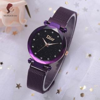 MyWardrobe 1 Pcs Women Girl Wrist Quartz Watch Starry Sky Round Dial Alloy Strap Fashion for Business