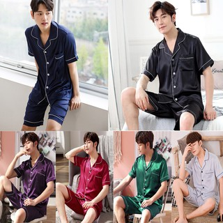 Plus Size L-5XL Male silk satin Pyjamas Men Pajamas Nightwear Short Sleeve Set Sleepwear