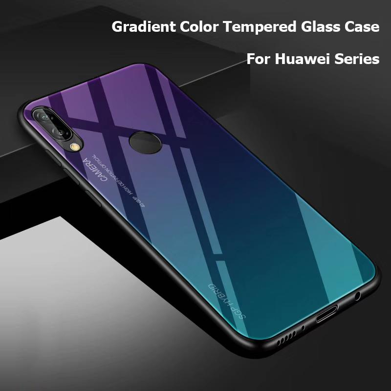 Casing Huawei Honor 8X Huawie Y Max Nova 3i 2i Mate 20 Pro Tempered Glass Case Gradient Color Android Hard Cover