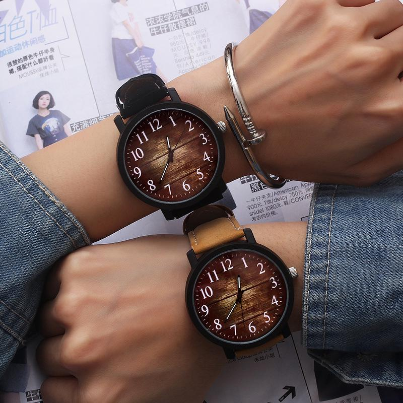Couple Wrist Watch Fashion Retro Large Dial Student Watch SX