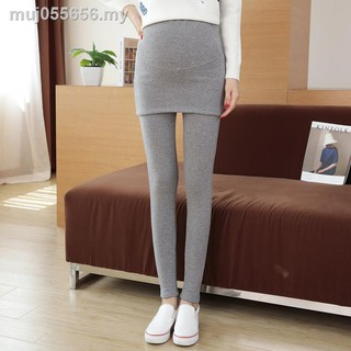 Maternity leggings pregnant women in the fall and winter of 2019 with velvet tall waist false two abdominal divided sk