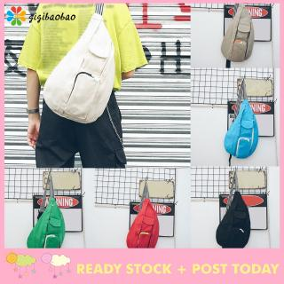 Fashion Neutral Solid Color Canvas Messenger Shoulder Bag Chest Bag Waist Bag