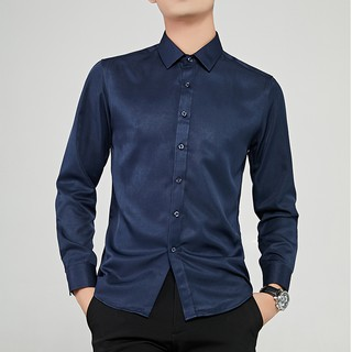 Hot  Men Slim Fit Short Sleeved Korean Style Classic Shirt Pure Color
