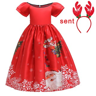 Christmas Dress Girl Red Santa Claus Printed Kids Dresses Children Costume Cosplay Party Dress Girls Dress