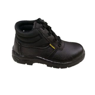 SAFETY SHOES / SAFETY BOOTS  READY STOCK  MID CUT STEEL TOE CAP BLACK GH524