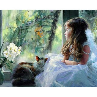 SC Colorful Canvas Diy Digital Oil Painting Paint By Numbers Frameless Daze Girl 40x50cm 4jzw XZ5