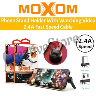 MOXOM Phone Stand Holder With Watching Video Movie Youtube 2.4A Fast Speed Charge Cable Micro Samsung Type C