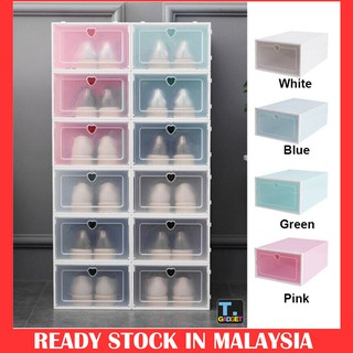 1pcs Extra Large Foldable Plastic Shoes shoe Box Stackable storage clear organizer