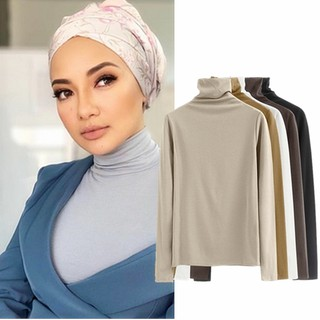 Muslim Turtle Neck Inner Blouse Muslimah Baju High Neck Long Sleeve Tops Basic Blouse