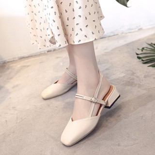 Square head low heel squat with grandmother shoes shallow mouth work shoes women
