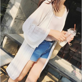 3/4 sleeve long cardigan beachwear women clothing thin outerwear