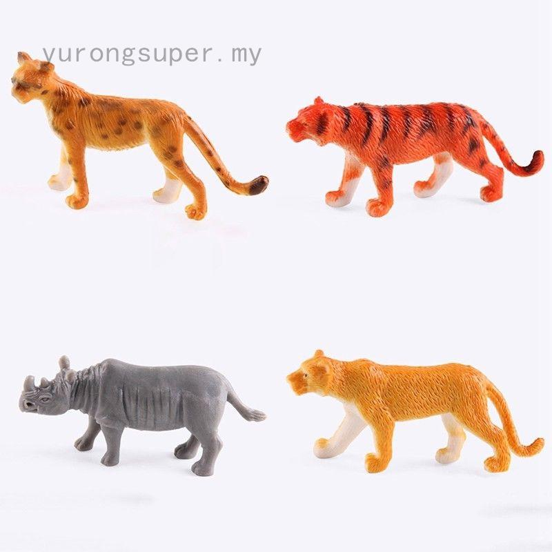 12 pcs Plastic Forest Animal Model Gifts Zebra Chimpanzee Display Model Kid Toys