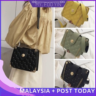 Ready Stock malaysia woman handbag shoulder sling bag two way travel pearl bag
