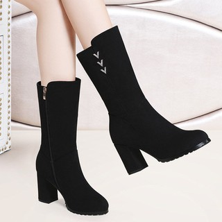 Qiu dong season new high-heeled shoes women thick with boots round head ms added wool warm ugg cotton