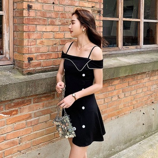 Strap one-shoulder dress, bellflower, summer 2019, new lady, very fairy, French niche black dress