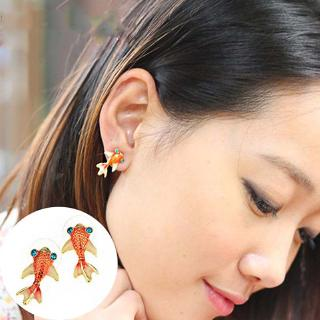 Korean Women Cute Lifelike Goldfish Stud Earrings