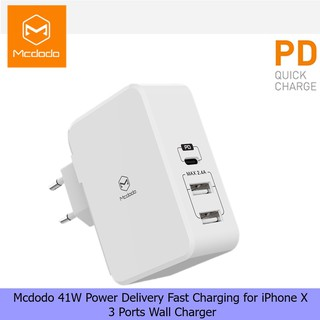 Mcdodo CH510 41W Power Delivery Fast Charging 3 Ports Wall Charger for iPhone X