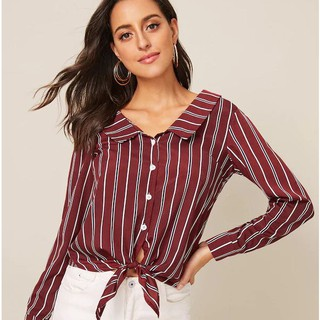 Women's Hot Sale Explosive Striped Knot Long Sleeve Shirt