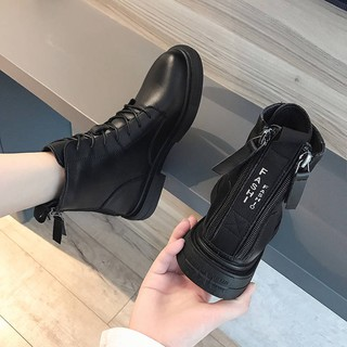 Double zipper Martin boots female British style wild rear zipper motorcycle short boots women plus velvet short boot237