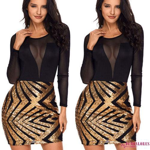 RRO-AU Women Bandage Bodycon Long Sleeve Evening Party Cocktail Sequins Short