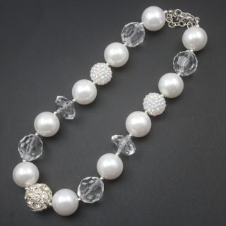 white pearl rhinestone beads chunky kids necklace for baby birthday gifts