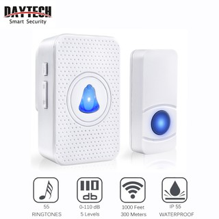 DAYTECH Wireless Waterproof Doorbell 55 Chime Ring Tones (DB05)