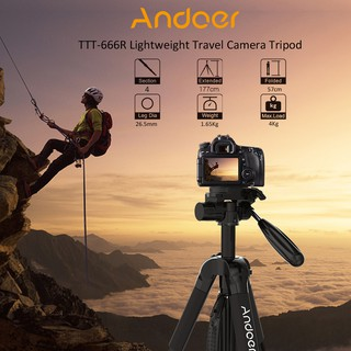 Andoer TTT-666R Camera Tripod Monopod Travel Portable Lightweight Tripod for Canon Nikon DV DSLR Camcorder with Ca