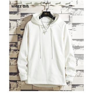 Men's Sweater Hooded Long Sleeve Solid Color White Black Casual M-4XL Simple Spot bajumurah