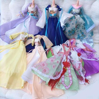 Barbie Costume Trailing Dress Barbie Clothes and Pants Makeup Play House Princess Big Box。77229
