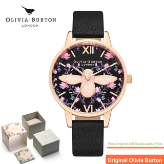 Original Olivia Burton Watch Woman Wonderland London OB Wristwatch Meant to Bee Demi Black & Rose Gold