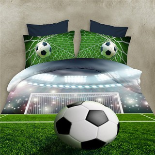 Football Sheets 3D Bedding Sets Quilt Duvet Cover Bed in A Leaf Of Bag Spread Be