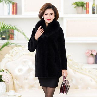 New fur coat female imitation fox collar medium long whole show thin autumn and winter warm mother dress