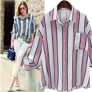 Women Loose Striped V Neck Long Sleeve Casual Summer Blouse large size