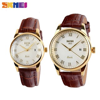 【SKMEI Official】9058 Leather Strap Watch Couple Simple Clasic Original Waterproof Watches Women Men